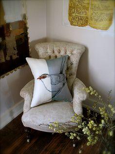 female blue wren cushion by Tara Badcock