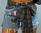 UPCYCLED Denim SHORTS / Levi cutoff shorts / destroyed frayed & custom patched denim cutoffs Size 30 Waist