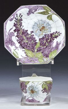 Samuel Schellink for ROZENBURG, porcelain eggshell cup and saucer decorated with lilac branches and spiderwebs, dated 1913