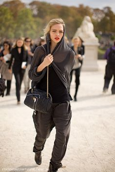 Sasha Pivovarova during S/S 2010 Paris Fashion Week.