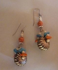 Vintage silver faux turquoise blue terracotta white beaded dangle hook earrings costume jewelry on Etsy, $4.20