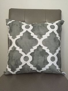 Grey and white pillow cover, throw pillow, decorative pillow by CatandLuDesigns on etsy. Moroccan style pillow.