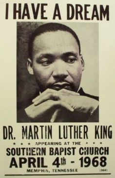 A promo poster for Dr. Martin Luther King to give a speech on the day of his death. A great man taken from us but his legacy lives on.