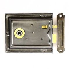 A brass trimmed, steel cased bathroom/study rimlock/latch. Sliding snib, suitable for left or right hung doors and supplied complete with a cast iron replacement keep. Now sold