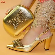 Women Shoes And Bag Set Italian Shoes with Matching Bags Set Gold Wedding Shoes, Gold Shoes, Green Shoes, Bridal Heels, Pump Types, Italian Shoes, Evening Shoes, Spike Heels, Party Shoes