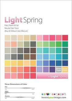 Your Color Palette & Body Type. - Page 4 Light Spring Palette, Spring Color Palette, Spring Colors, Colour Palettes, Colour Schemes, Neutral Skin Tone, Colors For Skin Tone, Warm Colors, Seasonal Color Analysis