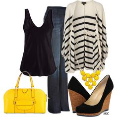 This is totally a great outfit for fall!! And when its the summertime, just take off the sweater and replace the black tank top with a light green one!! It will go great with the yellow purse [: