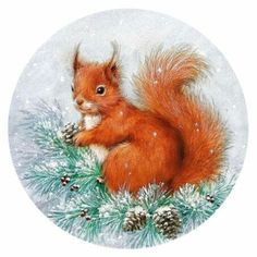 4 Single Table Paper Napkins / Craft / Party / for Decoupage / Squirrel on tree Christmas Scenes, Christmas Pictures, Christmas Art, Vintage Christmas, Illustration Noel, Winter Illustration, Christmas Illustration, Christmas Squirrel, Christmas Animals