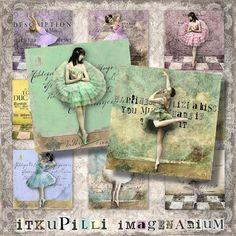 Vintage Ballerinas  2x2 shabby squares  door itKuPiLLiimagenarium, $3.50