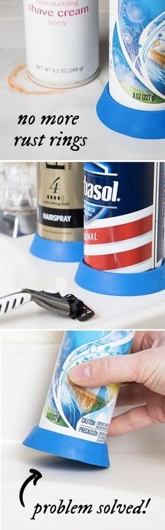 No more rust rings in the shower or by the sink. With this little gripper on the bottom of cans, your surfaces are safe.