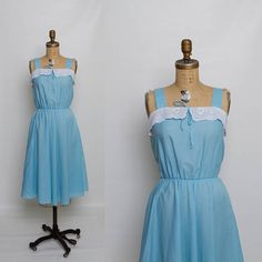 1970s summer dress with eyelet lace collar  vintage 70s blue sundress