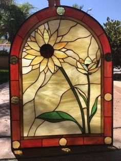 Arched Sunflower Duo Leaded Stained Glass Window Panel (Also available insulated and pre-installed in vinyl frame) Stained Glass Suncatchers, Faux Stained Glass, Stained Glass Lamps, Stained Glass Designs, Stained Glass Panels, Stained Glass Projects, Stained Glass Patterns, Leaded Glass, Window Glass