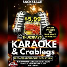 Its THURSDAY Admission is Free Doors Open at 6pm at BackStage our Specials are $5.99 CrabLegs $3 Martinis and Karaoke Reloaded Over $10000 Given Away This Year To The Crowd's Favorite Singers COME EAT GOOD & SING FOR THE MONEY!!! 2505 Godby Rd College Park GA 30349 http://ift.tt/1EdOjs6 404.763.1107 #crablegs #freeadmission #live #karaoke #party #dancing #dining #shrimps #grits #spirits #thursday #dj #atlanta