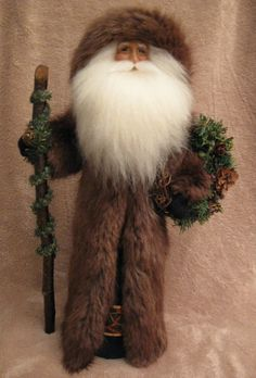 "ooak unique Christmas 13"" Santa Claus Art Doll holding wreath, original design polymer clay, genuine fur beard & coat"