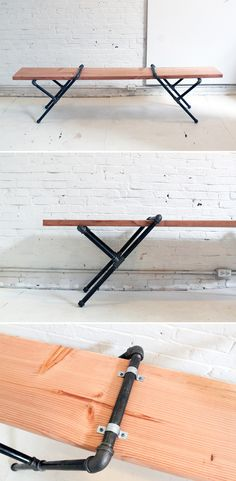 You can easily turn a 2x12 into a rustic, modern bench with iron pipe fittings. It's an easy solution to provide ample seating for your next get-together! Check out the website for step-by-step instructions.