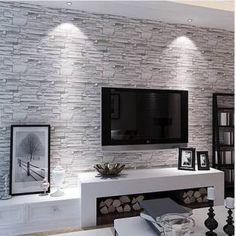 Papel de parede pedra canjiquinha cinza claro com aparência rústica.Tamanho: 1 Rolo de 3m (altura) X 50cm (largura).