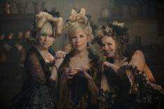 "Costumes by Colleen Atwood. In ""Into the Woods,"" a burlesque look inspired the costumes for the stepsisters (Lucy Punch, left, and Tammy Blanchard, right) and stepmother (Christine Baranski). Colleen Atwood, Walt Disney Pictures, Emily Blunt, Meryl Streep, Johnny Depp, Disney S, Disney Movies, Pixar Movies, Disney Live"