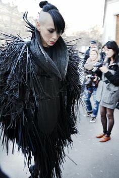 JORGE AYALA: Paris Fashion Week FW14 Lily Gatins at Gareth Pugh Show, wearing Jorge Ayala Paris Couture