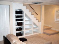 remodeling basements | Remodeling Basement Ideas-love the use of space/bookshelves