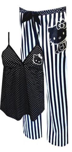Hello Kitty Black And White Babydoll Pajama Set