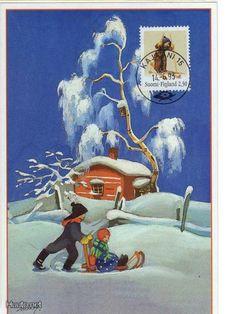 Martta Wendelin Vintage Greeting Cards, Vintage Christmas Cards, Kids Christmas, Xmas, Christmas Postcards, Christmas Illustration, Children's Book Illustration, Winter Images, Childrens Christmas