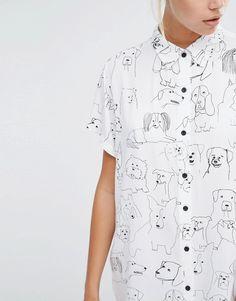 Image 3 ofLazy Oaf Oversized Shirt With Dog Print