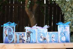 Disney Frozen - Personalized Name Blocks, Children's Room Decor, Party Decor Frozen Bedroom Decor, Disney Frozen Bedroom, Frozen Room, Frozen Theme, Childrens Room Decor, Childrens Party, Name Blocks, Wood Blocks, Frozen Party Decorations