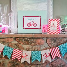 bike themed birthday party fabric