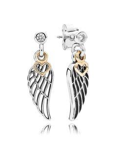 Pandora Earrings - 14k Gold, Sterling Silver & Cubic Zirconia Love & Guidance