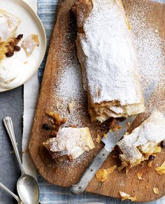 A secretly really easy apple strudel that makes you look like a pro. From Rick Stein's Long Weekends. Apple Recipes, Sweet Recipes, Delicious Recipes, No Bake Desserts, Dessert Recipes, Cake Recipes, Strudel Recipes, Pastry Recipes, Apple Strudel