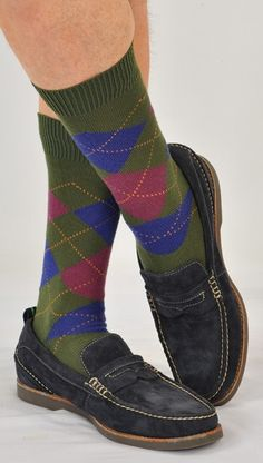 610f74865 Argyles  Stunning ExtraFine Merino Mid-Calf Argyle Socks