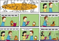 "Created by Jim Davis, Garfield is about the famous fat cat and his hilarious daily adventures with his ""pal"" Odie and others. Garfield Cartoon, Garfield Comics, Snoopy Cartoon, Cat Cartoons, Fat Cats Funny, Funny Dogs, Funny Cute, The Funny, Hilarious"