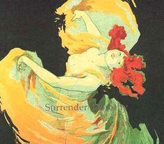 Dancing at The Folies Bergere Loie Fuller Paris France By Jules Cheret Belle Epoque Lithograph