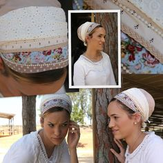 Mocha Flower Tichel/headscarf/Headcovering comes with Pink Pearl Headband