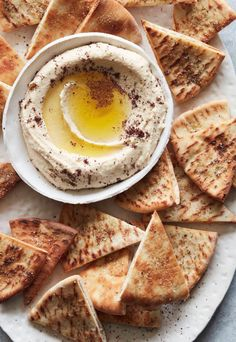 The Best Hummus and Herbed Baked Pita Chips from www.whatsgabycooking.com
