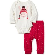 Old Navy Baby Graphic 2 Piece Set (325 EGP) ❤ liked on Polyvore featuring tops, pink, old navy, white long sleeve top, long-sleeve bodysuits, long sleeve tops and white bodysuit top