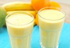 Bananen smoothie met ijs en sinaasappelsap