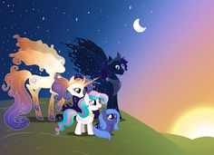 Princess Luna and Princess Celestia and their parents Queen galaxia and king cosmos