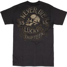 "Men's ""Never Die"" Tee by Lucky 13 (Black)"