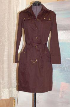 """Diane von Furstenberg """"Irene"""" Brown Cotton Safari Button Belted Dress Size 4   eBay"""