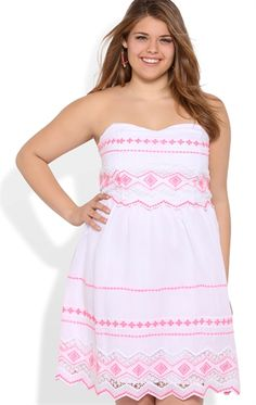 Plus Size Strapless Dress with Neon Embroidery
