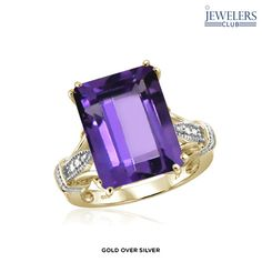 8.3ctw Genuine Amethyst & Diamond Accent Pretty in Purple Ring in Sterling Silver - Assorted Finishes at 88% Savings off Retail!