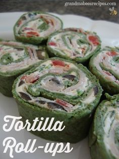 Tortilla Roll-Ups - these are filled with smoked turkey! Can be a meal or an appetizer! (Great alternative to a sandwich!)
