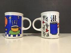 Cafe Marc Tetro Coffee Mug Danesco Stars Blue Black White Multicolor #Danseco #coffeemug #stars #steam #heart #cafe #multicolor #cups