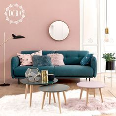 Modern Living Room Table, Teal Living Rooms, Living Room Color Schemes, Home Living Room, Living Room Designs, Living Room Decor, Modern Couch, Blue And Pink Living Room, Modern Furniture