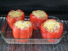 Stuffed Red Bell Peppers on MAK 2 Star Wood Pellet Smoker-Grill