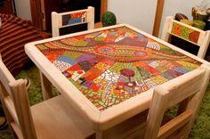 mesa en mosaico Mosaic Tile Designs, Mosaic Tile Art, Mosaic Diy, Mosaic Crafts, Mosaic Projects, Mosaic Glass, Mosaic Furniture, Home Decor Furniture, Outdoor Table Tops