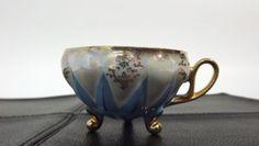 Vintage unique Decorative Small cup W/ Antique gold Trim Baby Blue &IRIDESCENT