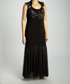Love this Black & Nude Lace Cutout Gown - Plus by R&M Richards on #zulily! #zulilyfinds
