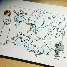 #lilkylo has really stepped up his snowman game. This is one of the first commissions for my Kickstarter backers. I will be opening up commissions again once these are completed.